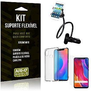 Kit Suporte Flexível Xiaomi Mi 8 Suporte + Capa + Película de Vidro - Armyshield