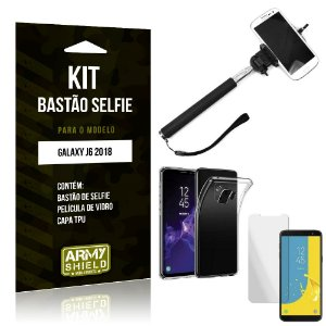 Kit Bastão de Selfie Samsung Galaxy J6 2018 Bastão + Capa + Película de Vidro - Armyshield
