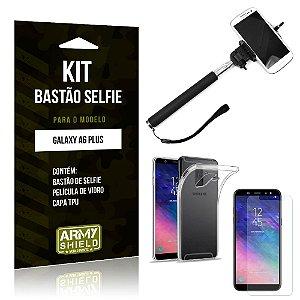 Kit Bastão de Selfie Samsung Galaxy A6 Plus Bastão + Capa + Película de Vidro - Armyshield