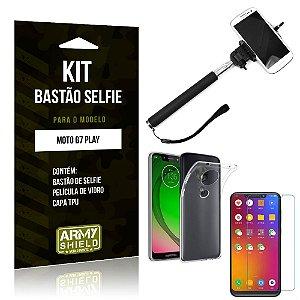 Kit Bastão de Selfie Motorola Moto G7 Play Bastão + Capa + Película de Vidro - Armyshield