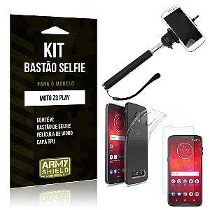 Kit Bastão de Selfie Motorola Moto Z3 Play Bastão + Capa + Película de Vidro - Armyshield