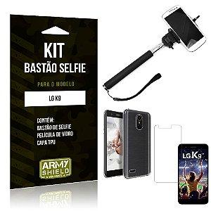 Kit Bastão de Selfie LG  K9 Bastão + Capa + Película de Vidro - Armyshield