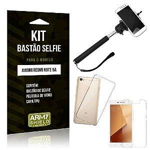 Kit Bastão de Selfie Xiaomi Redmi Note 5A Bastão + Capa + Película de Vidro - Armyshield