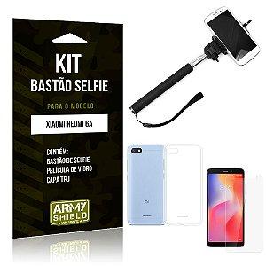 Kit Bastão de Selfie Xiaomi Redmi 6A Bastão + Capa + Película de Vidro - Armyshield