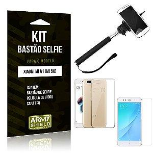 Kit Bastão de Selfie Xiaomi Mi A1 Bastão + Capa + Película de Vidro - Armyshield