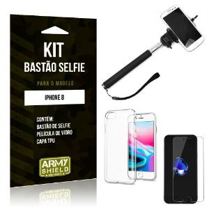 Kit Bastão de Selfie Apple iPhone 8 Bastão + Capa + Película de Vidro - Armyshield