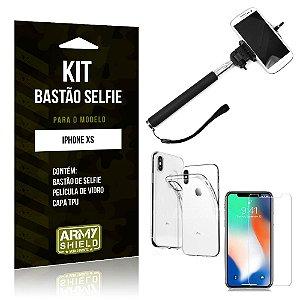 Kit Bastão de Selfie Apple iPhone XS Bastão + Capa + Película de Vidro - Armyshield