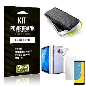 Kit Carregador Portátil 5K Galaxy J6 2018 Powerbank 5000mah + Capa + Película de Vidro - Armyshield