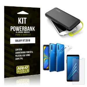 Kit Carregador Portátil 5K Galaxy A7 2018 Powerbank 5000mah + Capa + Película de Vidro - Armyshield
