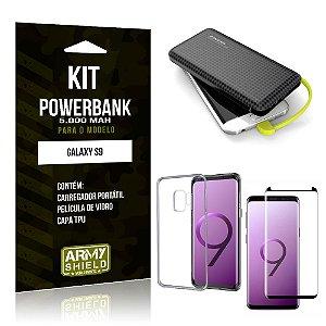 Kit Carregador Portátil 5K Tipo C Galaxy S9 Powerbank + Capa + Película de Vidro - Armyshield