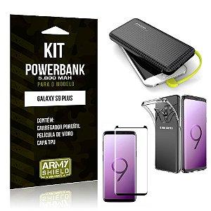 Kit Carregador Portátil 5K Tipo C Galaxy S9 Plus Powerbank + Capa + Película de Vidro - Armyshield