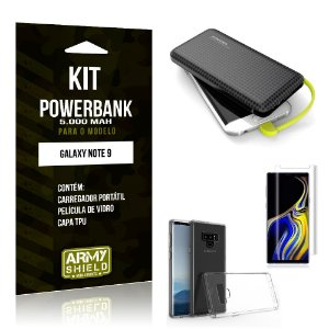 Kit Carregador Portátil 5K Tipo C Galaxy Note 9 Powerbank + Capa + Película de Vidro - Armyshield