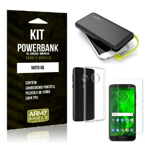 Kit Carregador Portátil 5K Moto G6 Powerbank 5000mah + Capa + Película de Vidro - Armyshield