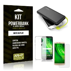 Kit Carregador Portátil 5K Moto G6 Play Powerbank 5000mah + Capa + Película de Vidro - Armyshield