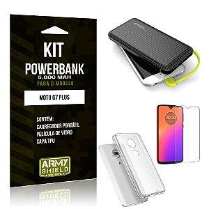 Kit Carregador Portátil 5K Tipo C Moto G7 Plus Powerbank + Capa + Película de Vidro - Armyshield