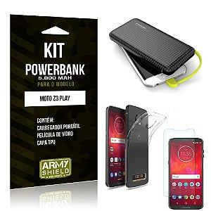 Kit Carregador Portátil 5K Tipo C Moto Z3 Play Powerbank + Capa + Película de Vidro - Armyshield