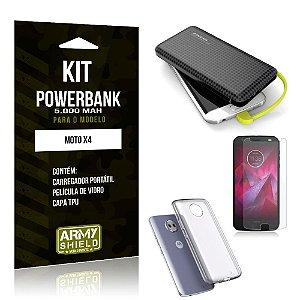 Kit Carregador Portátil 5K Tipo C Moto X4 Powerbank + Capa + Película de Vidro - Armyshield