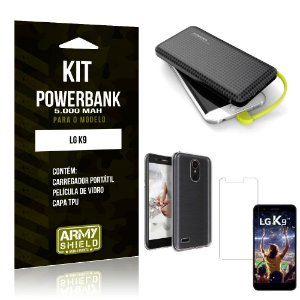 Kit Carregador Portátil 5K LG K9 Powerbank 5000mah + Capa + Película de Vidro - Armyshield