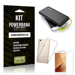 Kit Carregador Portátil 5K Redmi Note 5A Powerbank 5000mah + Capa + Película de Vidro - Armyshield