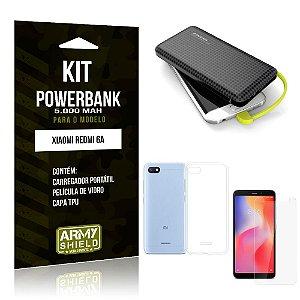 Kit Carregador Portátil 5K Redmi 6A Powerbank 5000mah + Capa + Película de Vidro - Armyshield