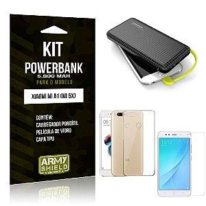 Kit Carregador Portátil 5K Tipo C Mi A1 Powerbank + Capa + Película de Vidro - Armyshield