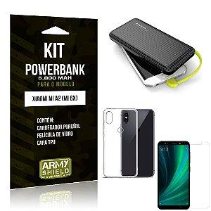 Kit Carregador Portátil 5K Tipo C Mi A2 Powerbank + Capa + Película de Vidro - Armyshield