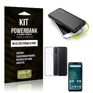 Kit Carregador Portátil 5K Mi A2 Lite Powerbank 5000mah + Capa + Película de Vidro - Armyshield