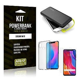 Kit Carregador Portátil 5K Tipo C Mi 8 Powerbank + Capa + Película de Vidro - Armyshield
