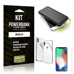 Kit Carregador Portátil 5K iPhone XS Powerbank 5000mah + Capa + Película de Vidro - Armyshield