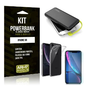 Kit Carregador Portátil 5K iPhone XR Powerbank 5000mah + Capa + Película de Vidro - Armyshield