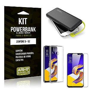 Kit Carregador Portátil 5K Tipo C Zenfone 5/5z Powerbank + Capa + Película de Vidro - Armyshield