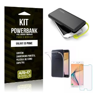 Kit Carregador Portátil 10K Galaxy J5 Prime Powerbank + Capa + Película de Vidro - Armyshield