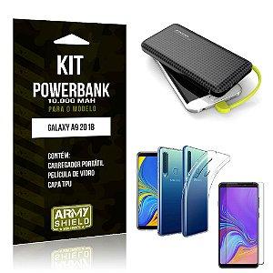 Kit Carregador Portátil 10K Tipo C Galaxy A9 2018 Powerbank + Capa + Película de Vidro - Armyshield