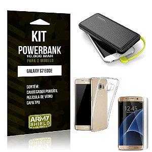 Kit Carregador Portátil 10K Galaxy S7 Edge Powerbank + Capa + Película de Vidro - Armyshield