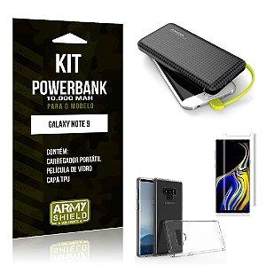 Kit Carregador Portátil 10K Galaxy Note 9 Powerbank + Capa + Película de Vidro - Armyshield