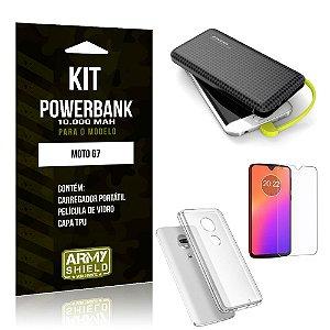 Kit Carregador Portátil 10K Tipo C Moto G7 Powerbank + Capa + Película de Vidro - Armyshield