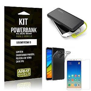 Kit Carregador Portátil 10K Redmi 5 Powerbank + Capa + Película de Vidro - Armyshield