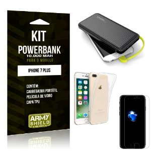Kit Carregador Portátil 10K Apple iPhone 7 Plus Powerbank + Capa + Película de Vidro - Armyshield