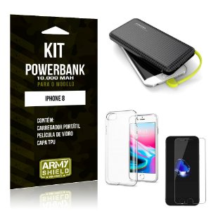 Kit Carregador Portátil 10K Apple iPhone 8 Powerbank + Capa + Película de Vidro - Armyshield