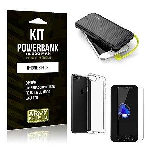 Kit Carregador Portátil 10K Apple iPhone 8 Plus Powerbank + Capa + Película de Vidro - Armyshield