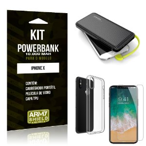 Kit Carregador Portátil 10K Apple iPhone X Powerbank + Capa + Película de Vidro - Armyshield