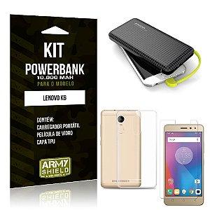 Kit Carregador Portátil 10K Lenovo K6 Powerbank + Capa + Película de Vidro - Armyshield