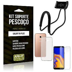 Kit Suporte Pescoço Samsung Galaxy J4 Plus Suporte + Capa + Película de Vidro - Armyshield
