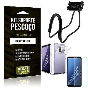 Kit Suporte Pescoço Samsung Galaxy A8 Plus Suporte + Capa + Película de Vidro - Armyshield