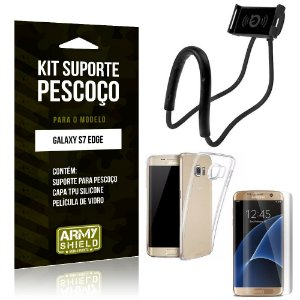 Kit Suporte Pescoço Samsung Galaxy S7 Edge Suporte + Capa + Película de Vidro - Armyshield