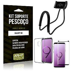Kit Suporte Pescoço Samsung Galaxy S9 Suporte + Capa + Película de Vidro - Armyshield