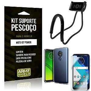 Kit Suporte Pescoço Motorola Moto G7 Power Suporte + Capa + Película de Vidro - Armyshield