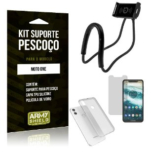 Kit Suporte Pescoço Motorola Moto One Suporte + Capa + Película de Vidro - Armyshield