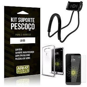 Kit Suporte Pescoço LG  G5 Suporte + Capa + Película de Vidro - Armyshield