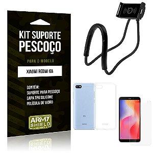 Kit Suporte Pescoço Xiaomi Redmi 6A Suporte + Capa + Película de Vidro - Armyshield